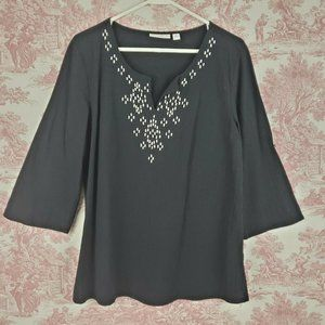Susan Graver Tunic Top Size M Beaded Crinkle